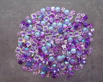 Lot 60 rhinestones mix shape size Parma Violet shade color