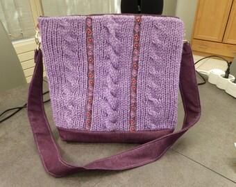 Lavender hand-knitted bag / / //sac hand shoulder bag / / bag / / 28cm x 31cm