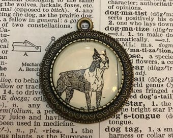 Handmade Vintage Dictionary Dog Necklace - Boxer