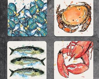 Set of 4 mixed seafood coasters