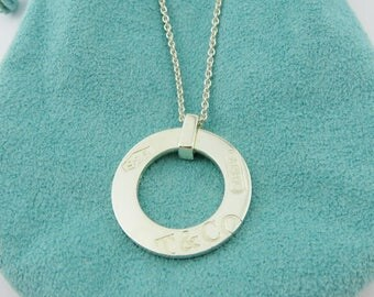 Authentic TIFFANY & CO Sterling Silver 1837 Round Circle Pendant Necklace