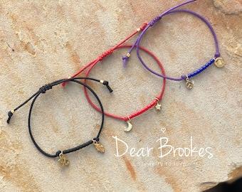 Cord Bracelet, Charm Bracelet, Boho Bracelet, Minimalist Cord Bracelet