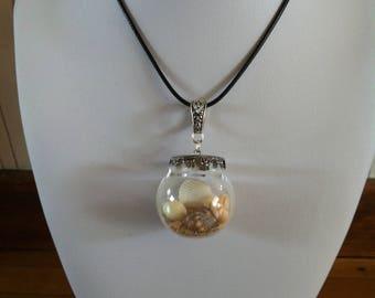 """Pendant """"Shells in bottle"""" glass bottle and shell"""