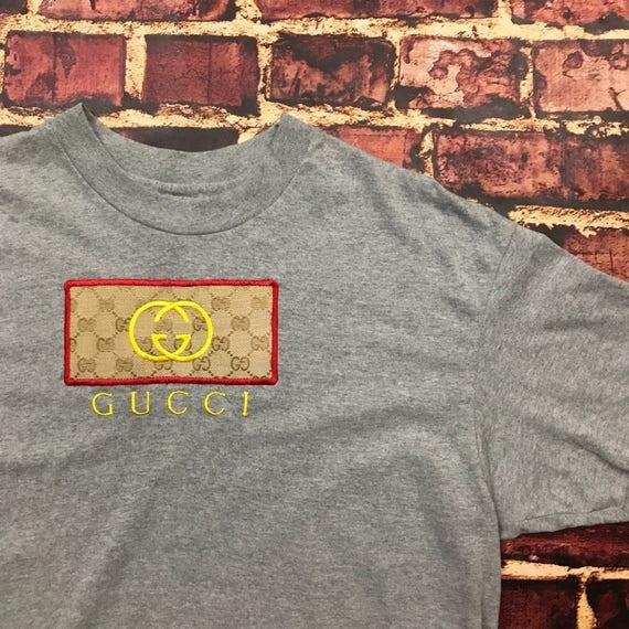 Vintage 80s Gucci Shirt Gucci Tshirt Gucci Logo Gucci Chanel Shirt Gucci Mane Louis Vutton Mens Size L/XL Large XL Tee T-Shirt Tshirt