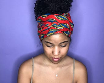 Red and Blue Kuchena Half Head Wrap