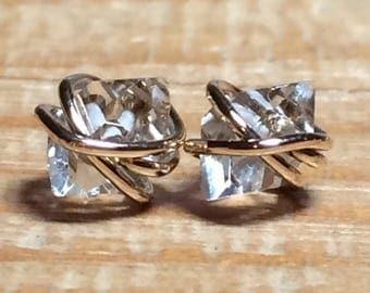 Herkimer Diamond Stud Earrings, Herkimer Diamond Studs, Herkimer Diamond Earrings, Herkimer Earrings, Herkimer Studs, Gold Filled, Rose Gold