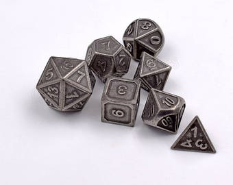 Polyhedral dice set for Dungeons and Dragons-Dice Set-d&d dice-Metal Dice-dnd dice-rpg dice set-RPG Role Playing Games-7 dice-Choose Color
