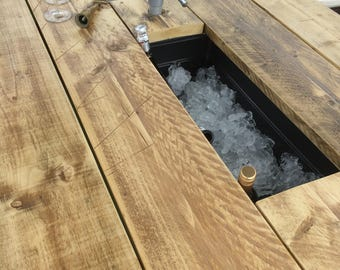 Rustic Patio Table with integral Ice Buckets & 2 benches /dining table/garden table/garden furniture