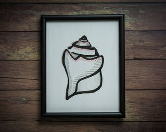 Conch Shell in a Reclaimed, Black, Wood Frame (Original)