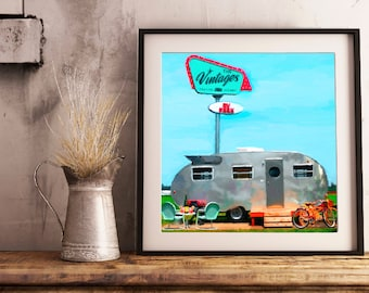 The Vintages, airstream painting, camper painting, airstream trailer, the Vintages BnB, Vintage trailer park, trailer park painting