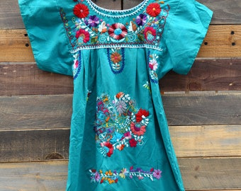 0310 Turquoise Spanish Embroidered Dress