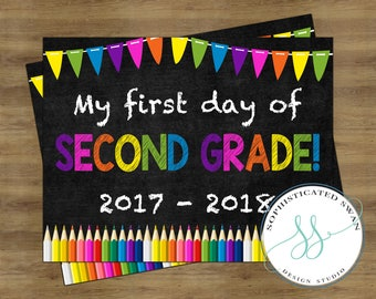 First Day of Second Grade Sign; First Day of School Sign; First Day of School Chalkboard Sign; First Day of School Printable