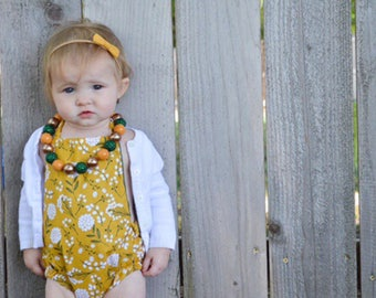 The Golden Meadow Romper, summer romper, floral romper, preemie-toddler romper, newborn romper, bodysuit