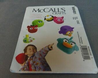 "Childrens Stuffed Toy heads, 6"" Dia. Pig, Birds, Frog, Penguin, Uncut, McCalls Crafts M6481, 2011"