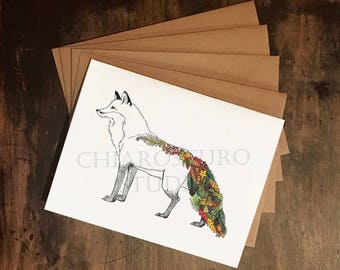 Fox Card Set - Autumn Red Fox A2 Greeting Cards with Kraft Envelopes, Set of 4 Blank Cards, Woodland Creature Cards, Fox Illustration