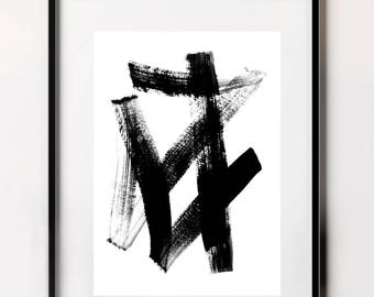 Brushstroke Poster, Contemporary Prints, Japanese Letter Art, Digital Download, Minimalist Prints