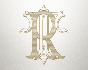 Wedding Printable Monogram - RT TR - Printable Monogram - Vintage