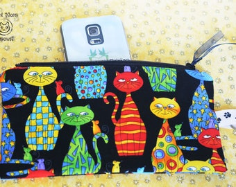 Cat pouch, Zen cats makeup case, Kawaii cat phone case, Cute cats cosmetic bag, Crazy cat lady, Cat lover gift, Zipper pouch, Kitty Wallet