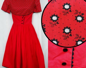 Red Cotton Full Skirt 1950s 50s Rockabilly Dress