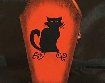 Cat Coffin Box / Coffin Box / Cat Jewelry Box / Hand Painted / Jewelry Box / Cat / Coffin Jewelry Box / Halloween Cat / Cat Art