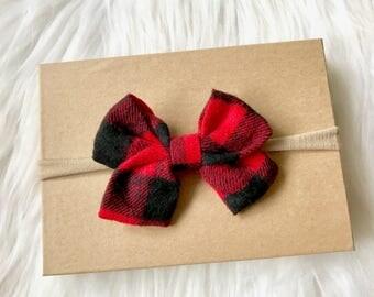 Plaid Sailor Bow Headband, Nylon Headband, Plaid Hair Bow, Fall Headband, Baby Headband, Baby Girl Headband, Infant Headband, Headband, Baby