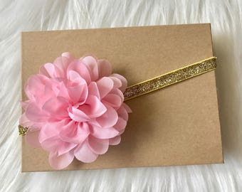Light Pink Headband, Pink and Gold Headband, Baby Headband, Baby Girl Headband, Infant Headband, Newborn Headband, Pink Headband, Headband