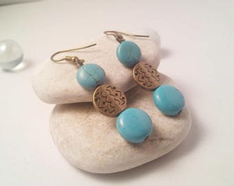 Turquoise and bronze Pearl Earrings