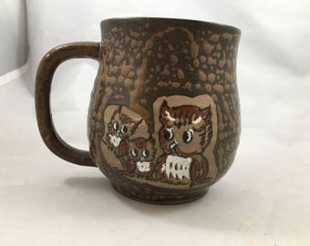 Vintage 1970s Brown Stoneware Pottery Hand Painted Cute Owls Mug