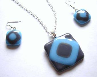 Geometric Jewellery Set, Geometric Necklace, Fused Glass Pendant, Geometric Pendant, Mod, Blue Grey Earrings & Necklace, Fused Glass Jewelry