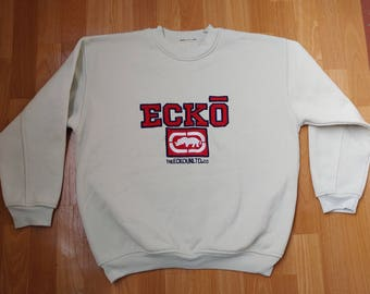 ECKO UNLTD sweatshirt, beige vintage hip hop hoodie, old school sweat shirt 90s hip-hop clothing, 1990s gangsta rap, og, size M Medium