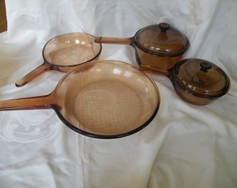 Vision Cookware 2 sauce pans with lids made in USA ,2 frying pans made in France, Corning,cookware , glass cookware,Pryex