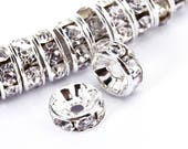 Clear Rhinestone Rondelle Spacer 50pcs Per Bag Size 4mm/6mm/8mm/10mm. Sold per Bag For Jewelry Making