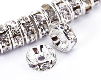 Clear Rhinestone Rondelle Spacer 50pcs Per Bag Size 4mm/6mm/8mm/10mm.Sale by Bag For Jewelry Making