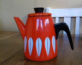 Vintage cathrineholm catherineholm enamel enamelware coffee pot teapot orange red