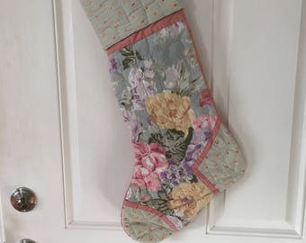 Vintage Quilted Holiday Stocking