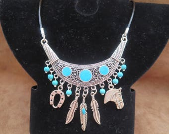 country leather necklace with bib and turquoise beads