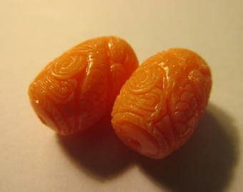 Carved Mythical Mermaid Faux Pink Coral Resin Bead, 20mm, Set of 2