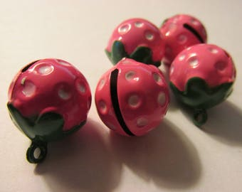 Hand Painted Pink Strawberry Metal Bell Charm, 3/4""