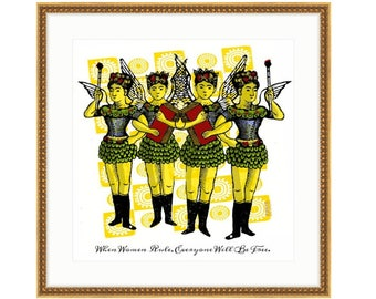 When Women Rule. Printed and framed digital collage by Liza Cowan. 3 sizes and 2 frame choices available. FREE SHIPPING