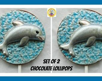 Dolphin Gift Chocolate lollipops/chocolate dolphins/Edible dolphin lolly/birthday/sea creatures/beach/ocean/sea/marine animal/boy/girl/son