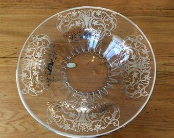 Antique Art Deco silver overlay dish salad bowl display collectible Urn
