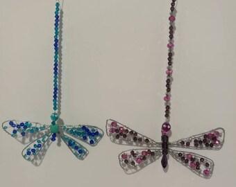 Wire dragonfly sun catchers