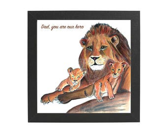 Small personalised lion and cubs framed print, father's day