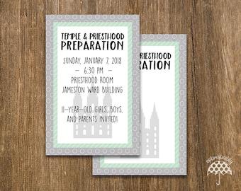 LDS Temple & Priesthood Preparation Invitation -- Gray + Green Dots