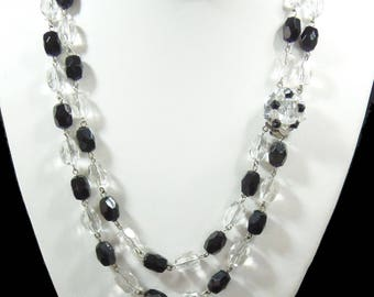 Vintage, 2 Strand Black and Clear Beaded Necklace (2934)