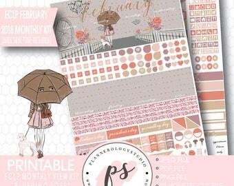Blushing Rose February 2018 Monthly Kit Printable Planner Stickers (for ECLP) | Dark & Light Skintone | JPG/PDF/Silhouette Cut File