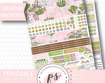 Wild at Heart February 2018 Monthly View Kit Printable Planner Stickers (for Classic Happy Planner) | JPG/PDF/Silhouette Cut File