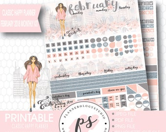 Fashionista February 2018 Monthly View Kit Digital Printable Planner Stickers (for Erin Condren ECLP) | JPG/PDF/Silhouette Cut File