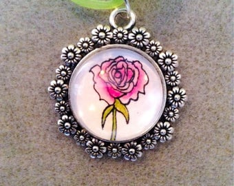 Pink rose cameo style necklace