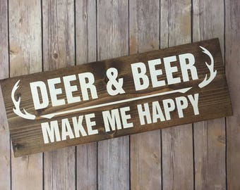 Deer & Beer Wood Sign - Man Cave - Rustic Decor - Home Decor